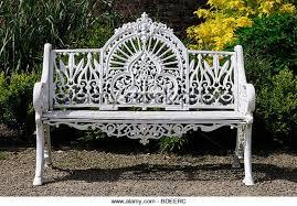 White Metal Outdoor Bench Garden Wrought Iron Bench Stock Photos U0026 Garden Wrought Iron Bench