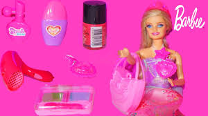 learn barbie makeup set nail polish dress up lipstick tiara