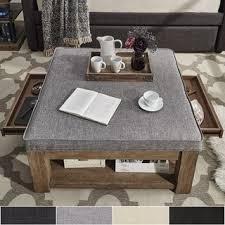 Ottoman Coffee Table With Storage Lennon Pine Square Storage Ottoman Coffee Table By Inspire Q