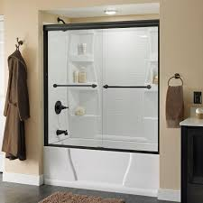 delta simplicity 60 in x 58 1 8 in semi framed sliding tub door
