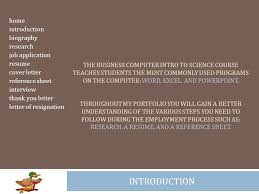 home introduction biography research job application resume cover