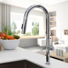 chromed metal mixer tap kitchen 1 hole with pull out spray