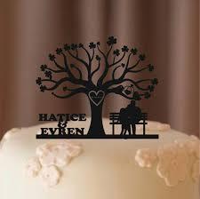 monogram tree topper custom wedding cake topper tree of wedding cake topper