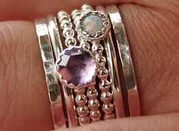 engraved stackable mothers rings opal amethyst stackable birthstones mothers rings personalized