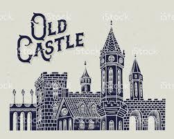 old castle vector illustration medieval european building drawing