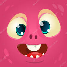 cartoon monster face vector halloween pink monster avatar u2014 stock