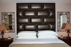 Bedroom Panelling Designs Precious Glossy Leather Upholstered Wall Panels For Masculine