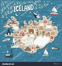 Iceland Map World Vector Stylized Map Iceland Travel Illustration Stock Vector