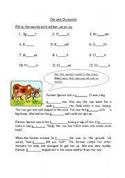 english worksheets ow and ou worksheet