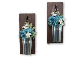 Wall Sconce Floral Arrangements Tin Wall Sconce Etsy