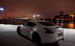 nissan car white cars cityscapes night nissan 370z vehicles white walldevil