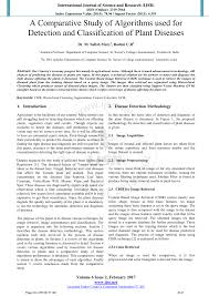 Plant Disease Journal - a comparative study of algorithms used for detection and