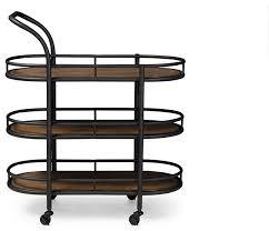 karlin textured metal and distressed wood serving cart black