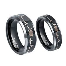 couples wedding rings 6mm 8mm tungsten carbide wedding rings etched ekg