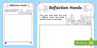 family reflection hands activity sheet australia english