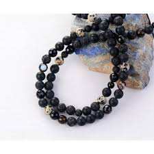 mens jewelry necklace images Men necklace quality matte black onyx lava energy beads mens jpeg