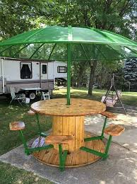 outdoor tables made out of wooden wire spools creative use of recycled pallet cable spools wood pallets pallets