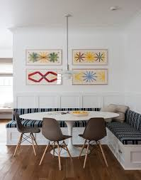 Kitchen Booth Seating Kitchen Transitional Saarinen Table Dining Room Transitional With Abstract Art Built In