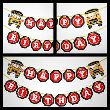 party bus clipart wheels on the bus birthday party banner ready to ship happy