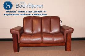 Brown Leather Recliner Sofa Stressless Wizard 2 Seat Low Back Loveseat Royalin Brown Color