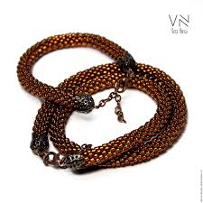 beads crochet necklace images Bead crochet necklace and bracelet copper shop online on jpg