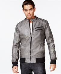 best mens leather motorcycle jacket guess quilted faux leather bomber jacket in gray for men lyst