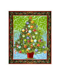 Peacock Tree Skirt Quilting Treasures Metallic Home Panel Fabric Com