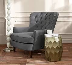 Tufted Upholstered Chairs Cardiff Tufted Upholstered Armchair Grey Pottery Barn Au