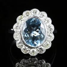 large diamonds rings images Aquamarine diamond ring 18ct white gold 5ct aquamarine large ring jpg