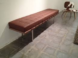 modern upholstered leather bench mies van der rohe modern