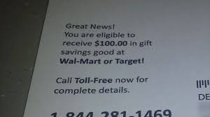 postcard ploy free 100 gift card scam fox6now