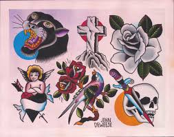 original watercolor traditional tattoo flash painting of