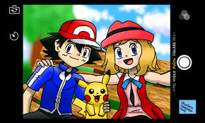 ash and serena take a selfie pokémon know your meme