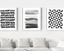 Black White art Prints Set of 6 Abstract Watercolor Paintings