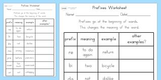 worksheet prefixes literacy punctuation worksheet