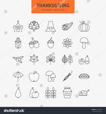 line thanksgiving day icons big stock vector 317224616