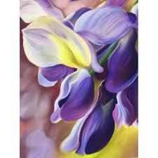 wistful purple wisteria flower painting 0riginal pastel flower