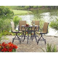 Bar Height Swivel Patio Chairs Shop Allen Roth Set Of 4 Safford Swivel Sling Cast Aluminum