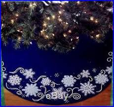 bucilla shimmer snowflakes felt tree skirt kit blue vintage