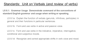 standards unit on verbals and review of verbs ls 8 1 grammar