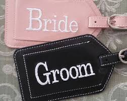 and groom luggage tags mr and mrs luggage tags with block font