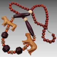 long vintage necklace images Lion necklace vintage necklace carved wood wooden beads big jpg