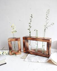 Test Tube Vase Holder Amazon Com Test Tube Flower Bud Vase Set Of 2 By Woodenstuff