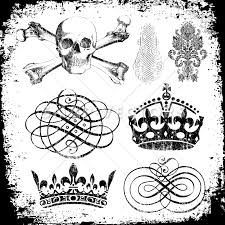 vector clipart grunge skull and crown ornaments snap vectors
