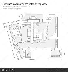 Furniture Floor Plans Standard Home Furniture Symbols Set Used In Architecture Plans