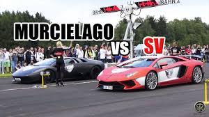 lamborghini murcielago racing lamborghini aventador lp750 4 sv vs murcielago drag race