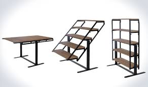 table converts to shelf transforming table that turns into a shelf geekologie