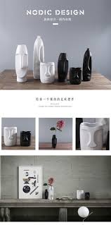 concise ceramic creative face head shape flowers vase pot home
