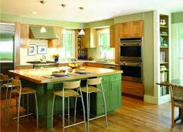 L Shaped Island In Kitchen Exciting Two Tone Style Kitchen With Brown Green Colors Kitchen