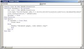 cara membuat koneksi database mysql menggunakan odbc cara membuat module koneksi di vb 6 0 dan mysql dengan adodb